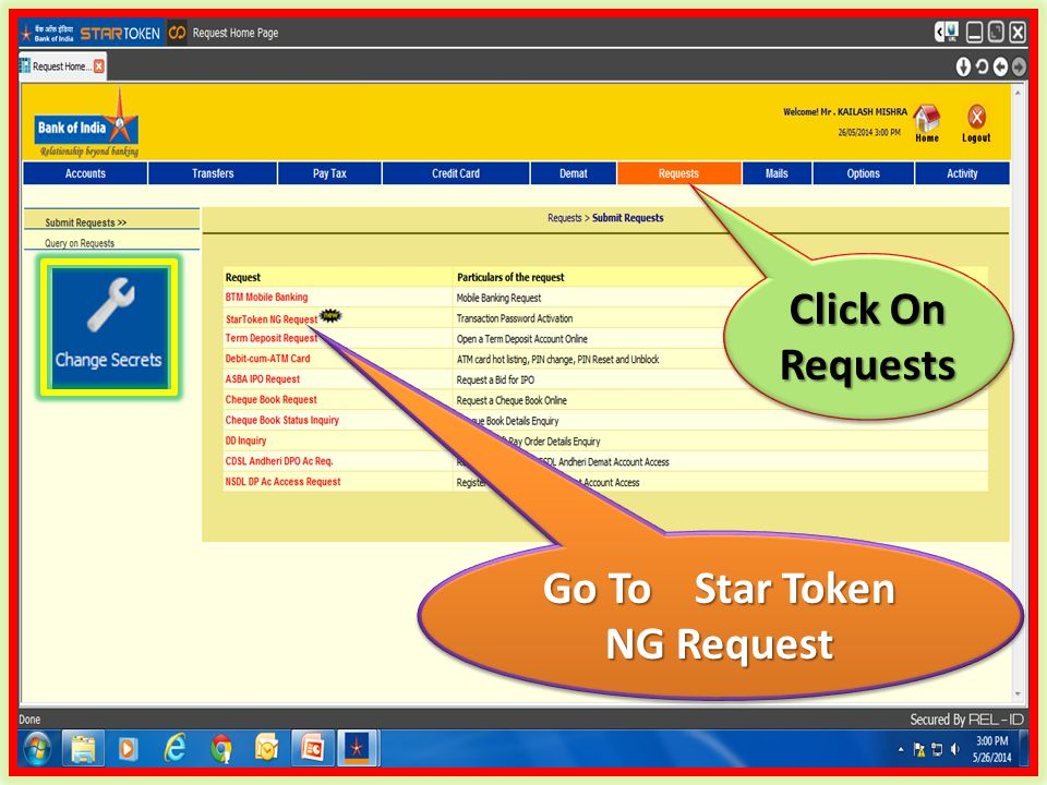 Go To Star Token NG Request