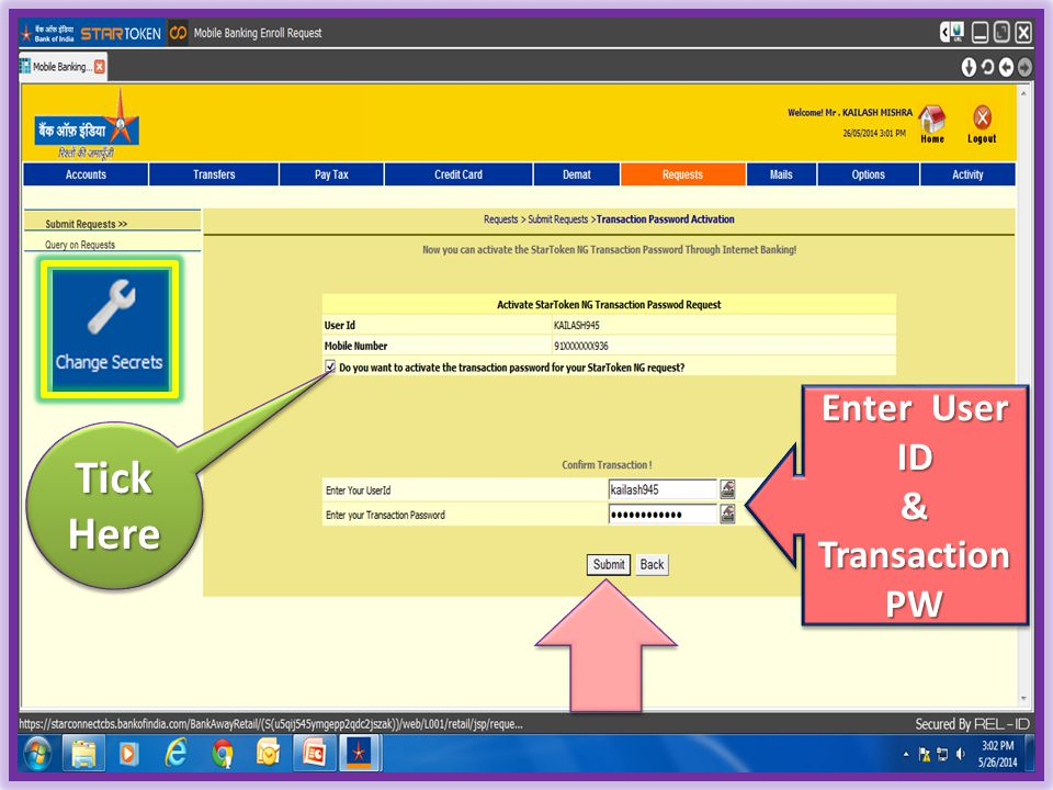 Enter User ID & Transaction PW Tick Here