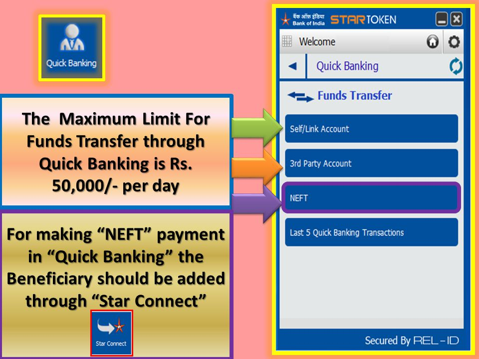 The Maximum Limit For Funds Transfer through Quick Banking is Rs