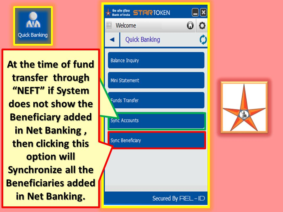 At the time of fund transfer through NEFT if System does not show the Beneficiary added in Net Banking , then clicking this option will Synchronize all the Beneficiaries added in Net Banking.