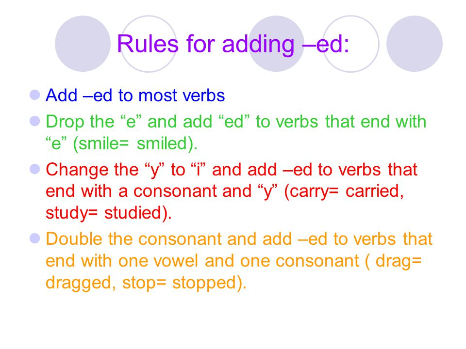Rules for adding –ed: Add –ed to most verbs