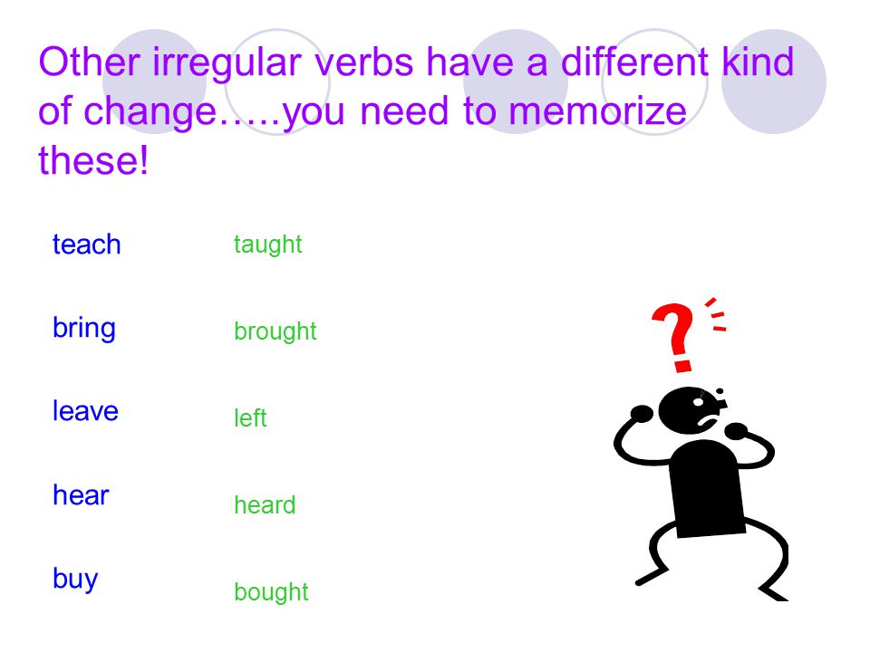 Other irregular verbs have a different kind of change…