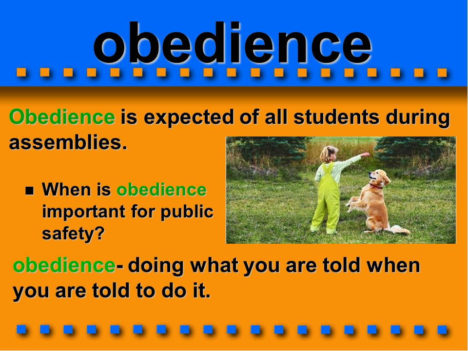 obedience Obedience is expected of all students during assemblies.