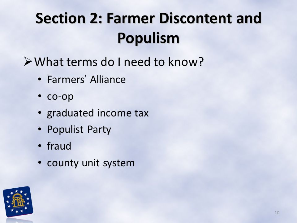 Section 2: Farmer Discontent and Populism
