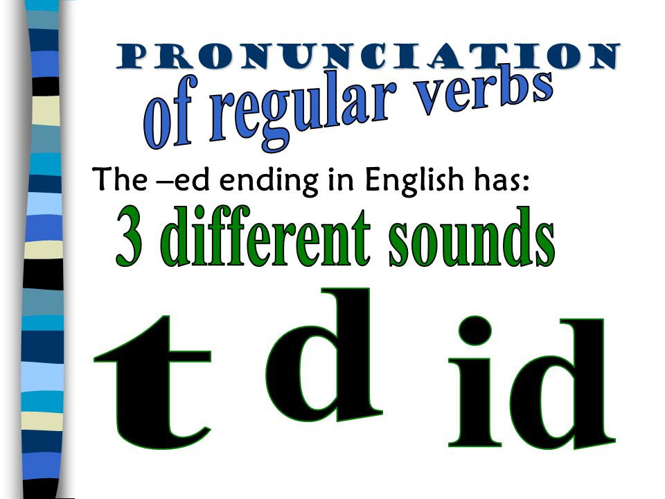 pronunciation of regular verbs The –ed ending in English has: 3 different sounds d t id
