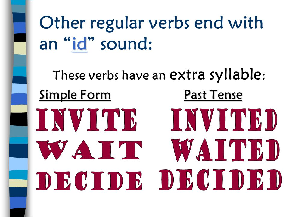 Other regular verbs end with an id sound: