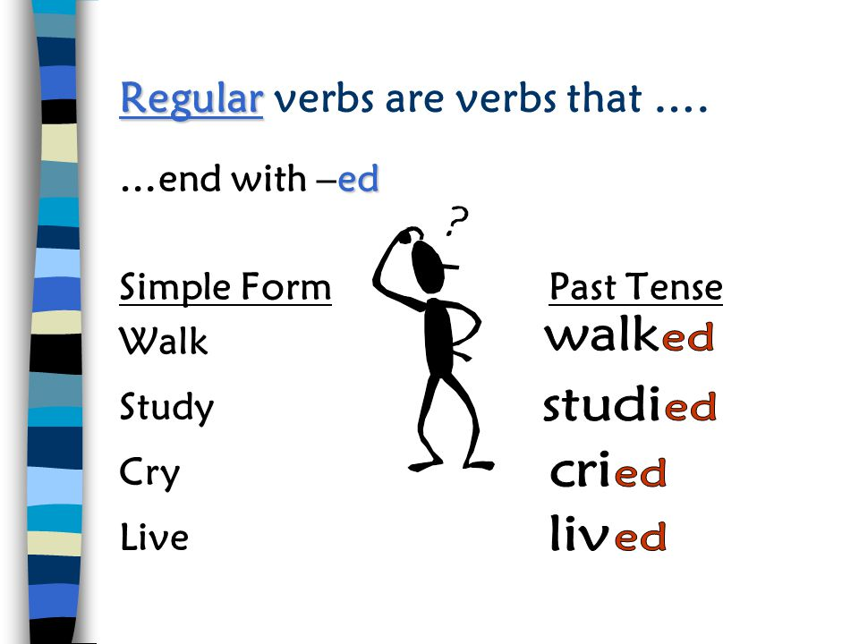 Regular verbs are verbs that ….