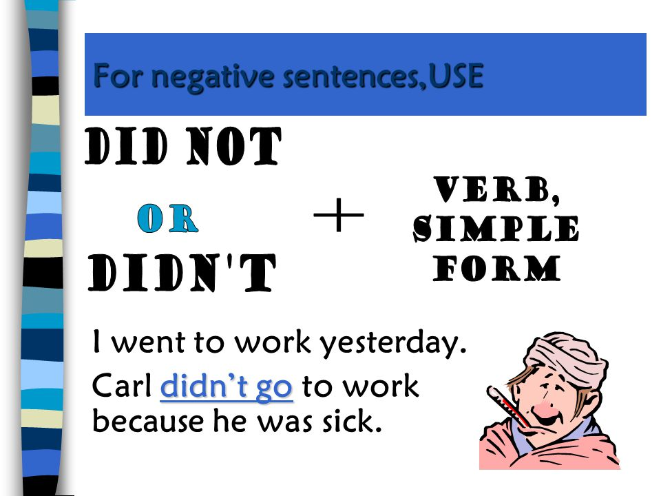 For negative sentences,USE