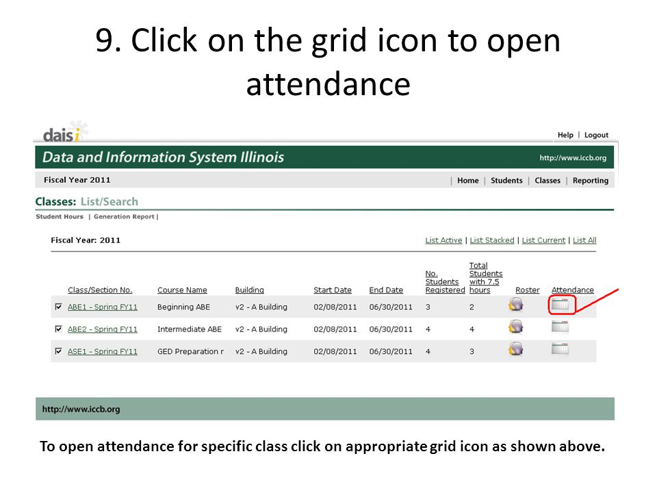 9. Click on the grid icon to open attendance
