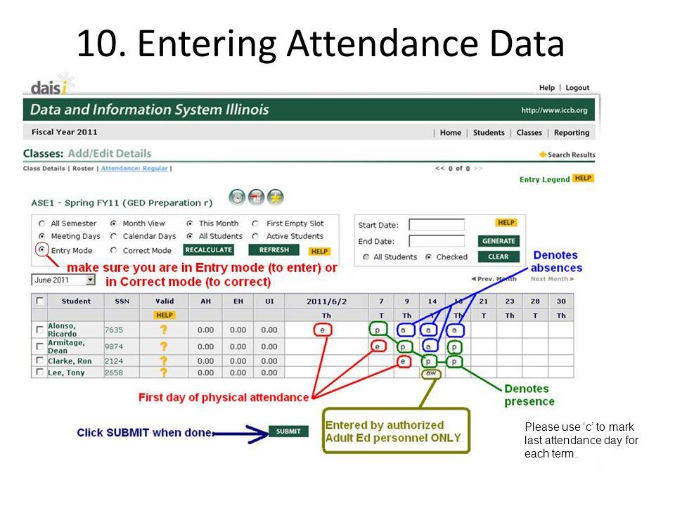 10. Entering Attendance Data