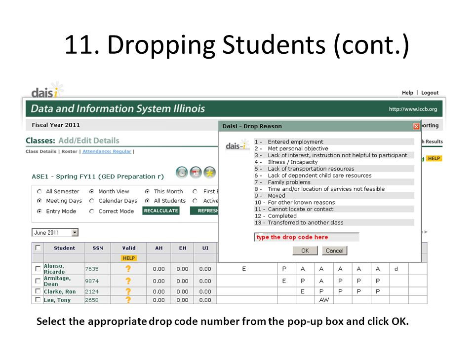 11. Dropping Students (cont.)