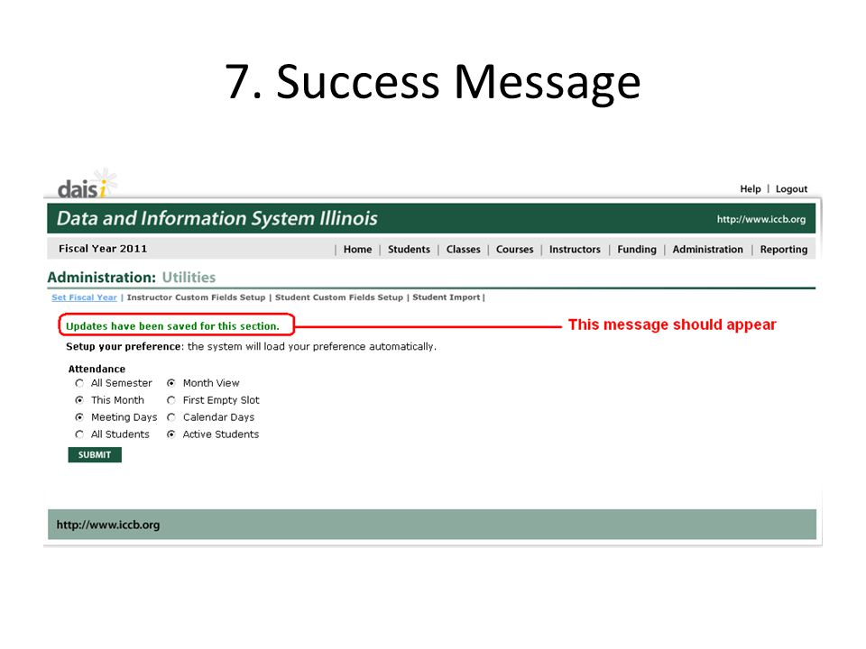7. Success Message