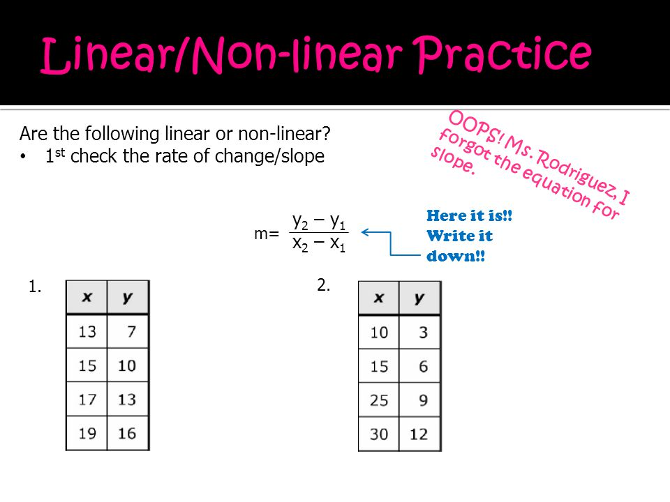 Linear/Non-linear Practice