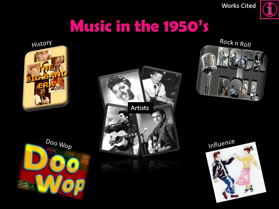 Music in the 1950's Works Cited History Rock n Roll Artists Doo Wop