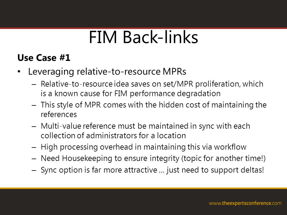 FIM Back-links Use Case #1 Leveraging relative-to-resource MPRs