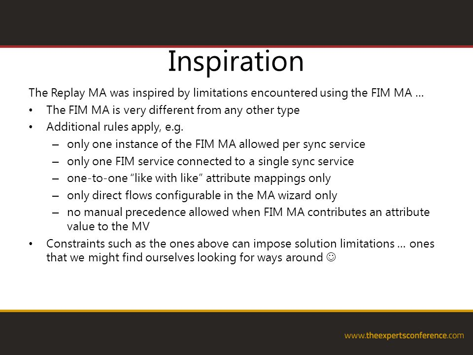 Inspiration The Replay MA was inspired by limitations encountered using the FIM MA … The FIM MA is very different from any other type.