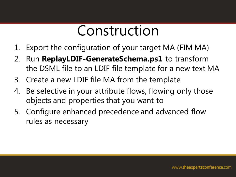Construction Export the configuration of your target MA (FIM MA)