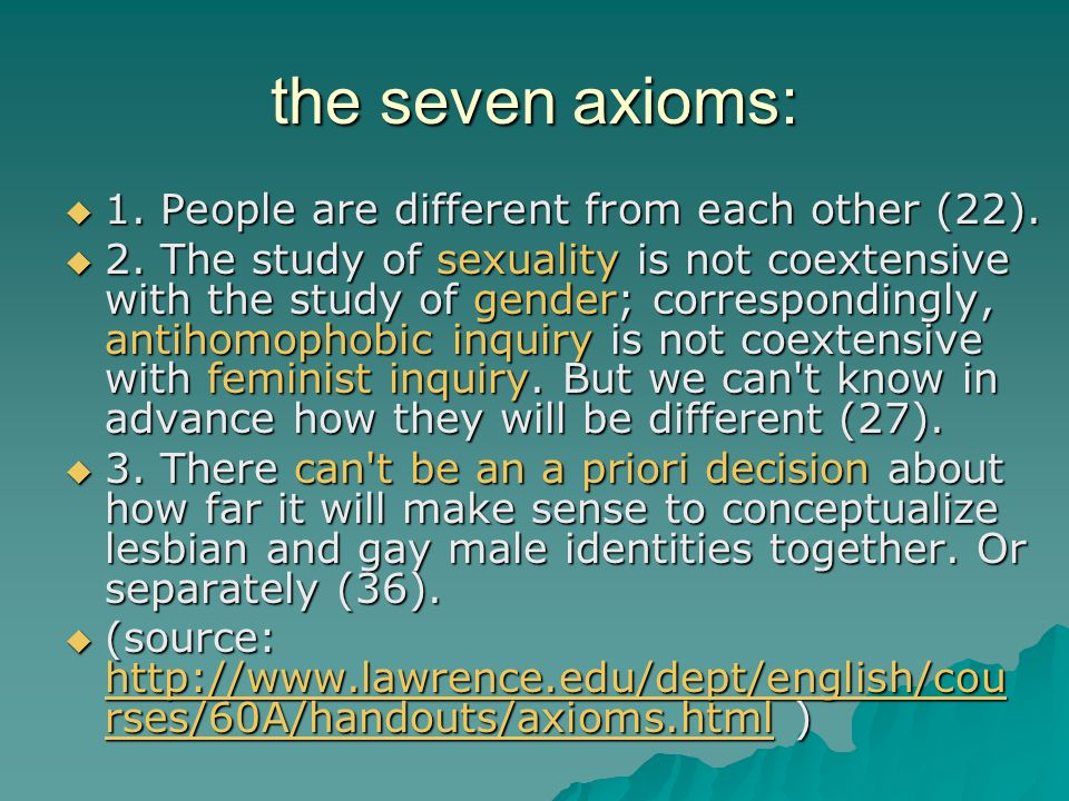 the seven axioms: 1. People are different from each other (22).