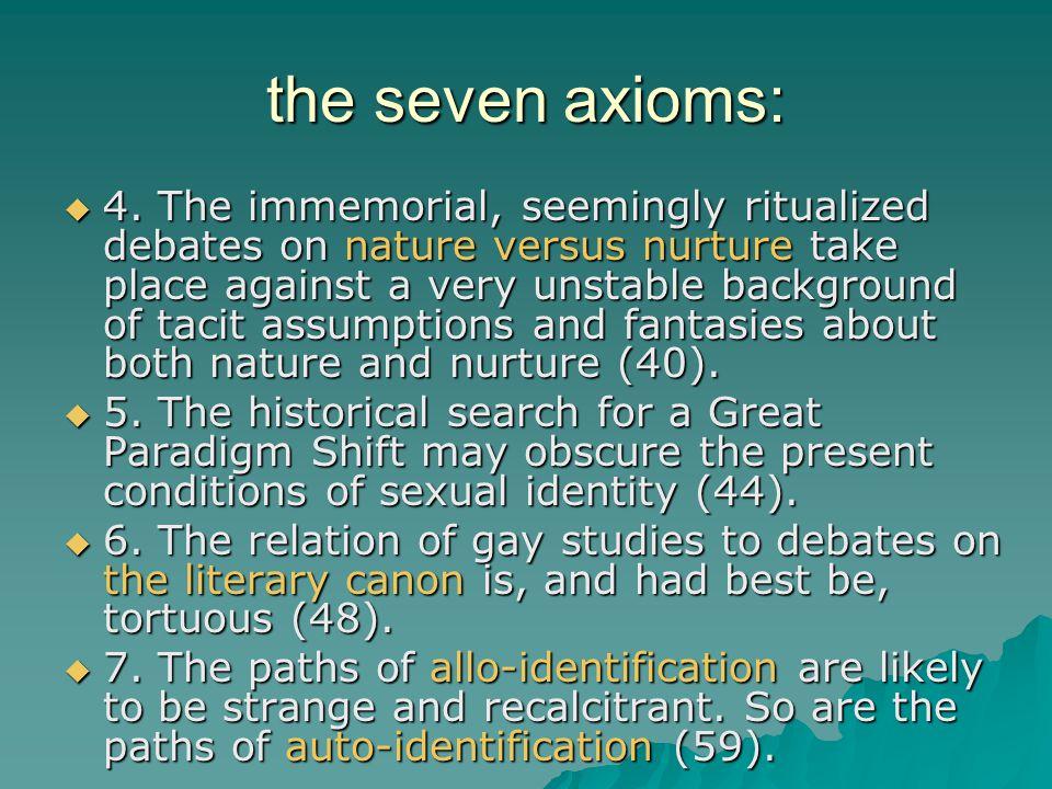 the seven axioms: