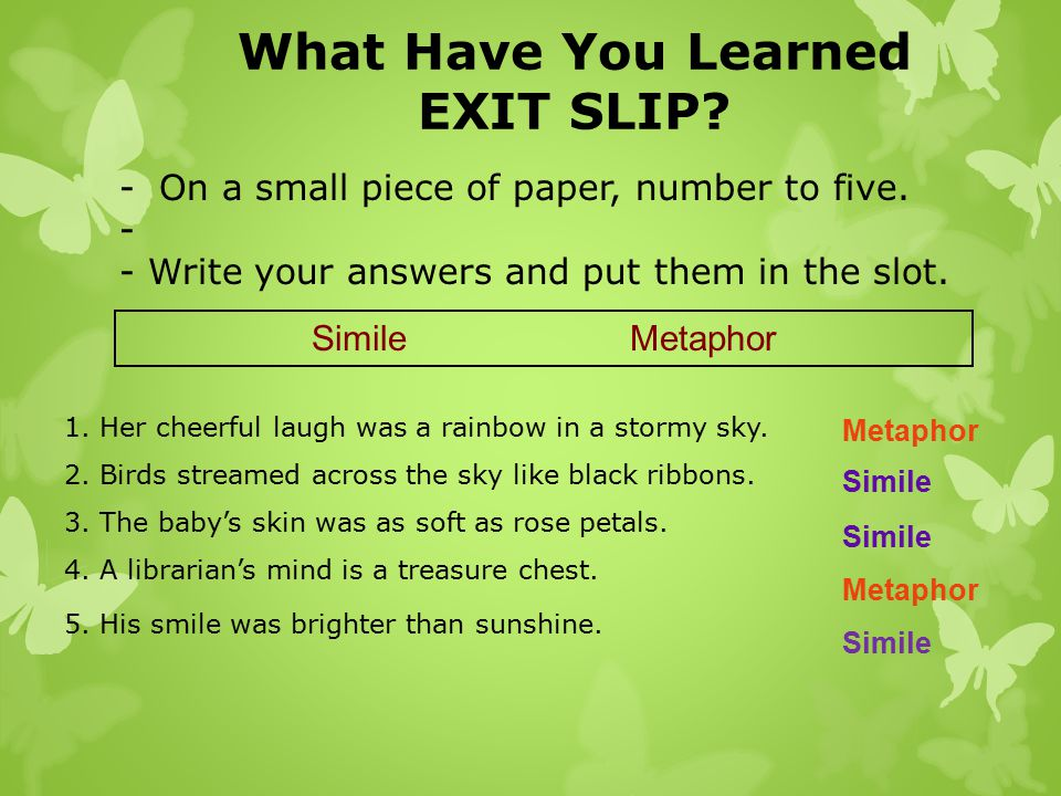 What Have You Learned EXIT SLIP