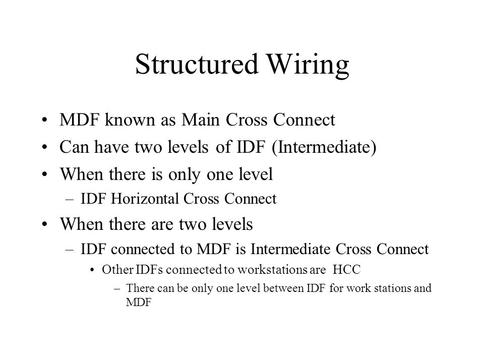Structured Wiring MDF known as Main Cross Connect