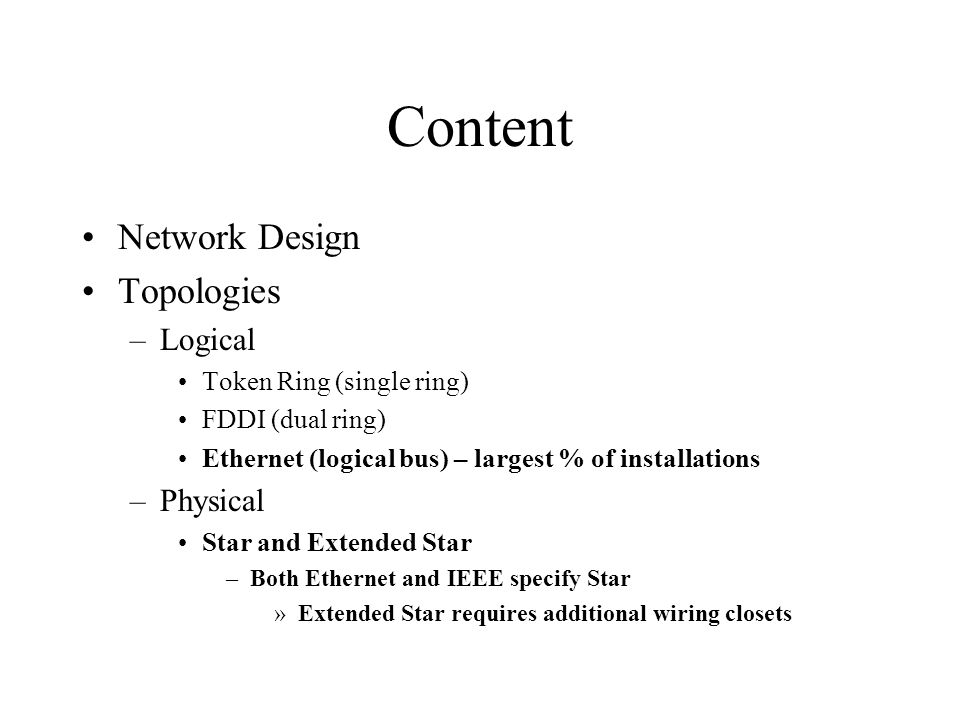 Content Network Design Topologies Logical Physical