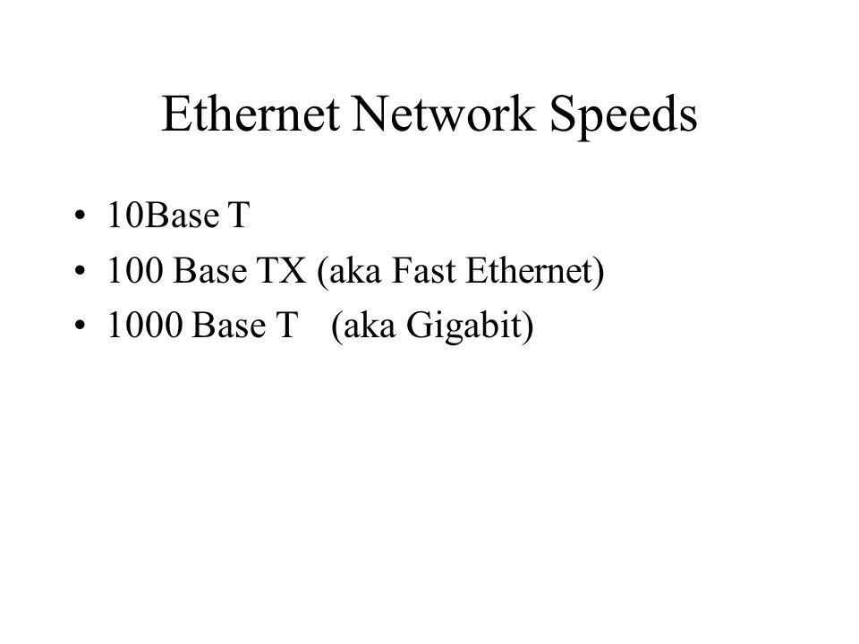 Ethernet Network Speeds