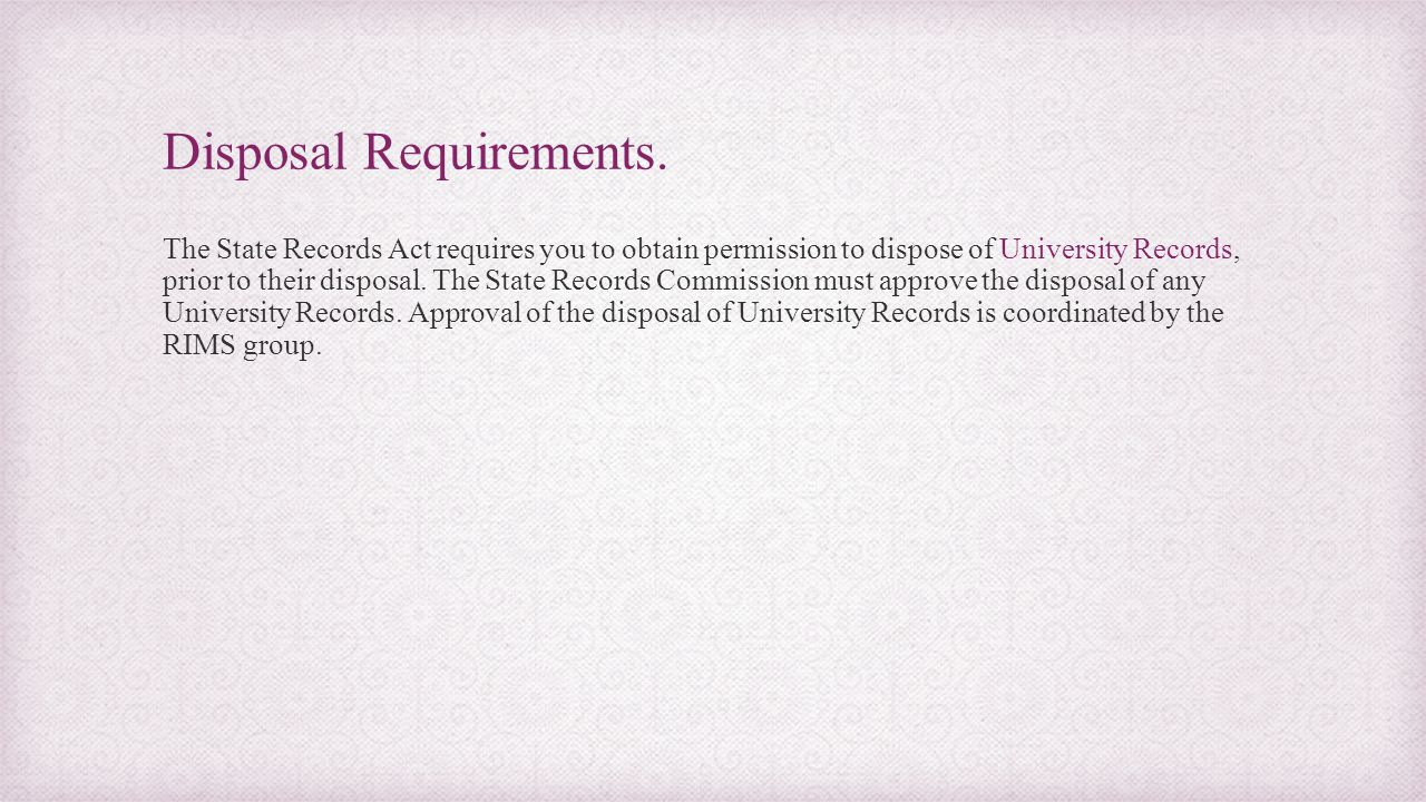 Disposal Requirements.