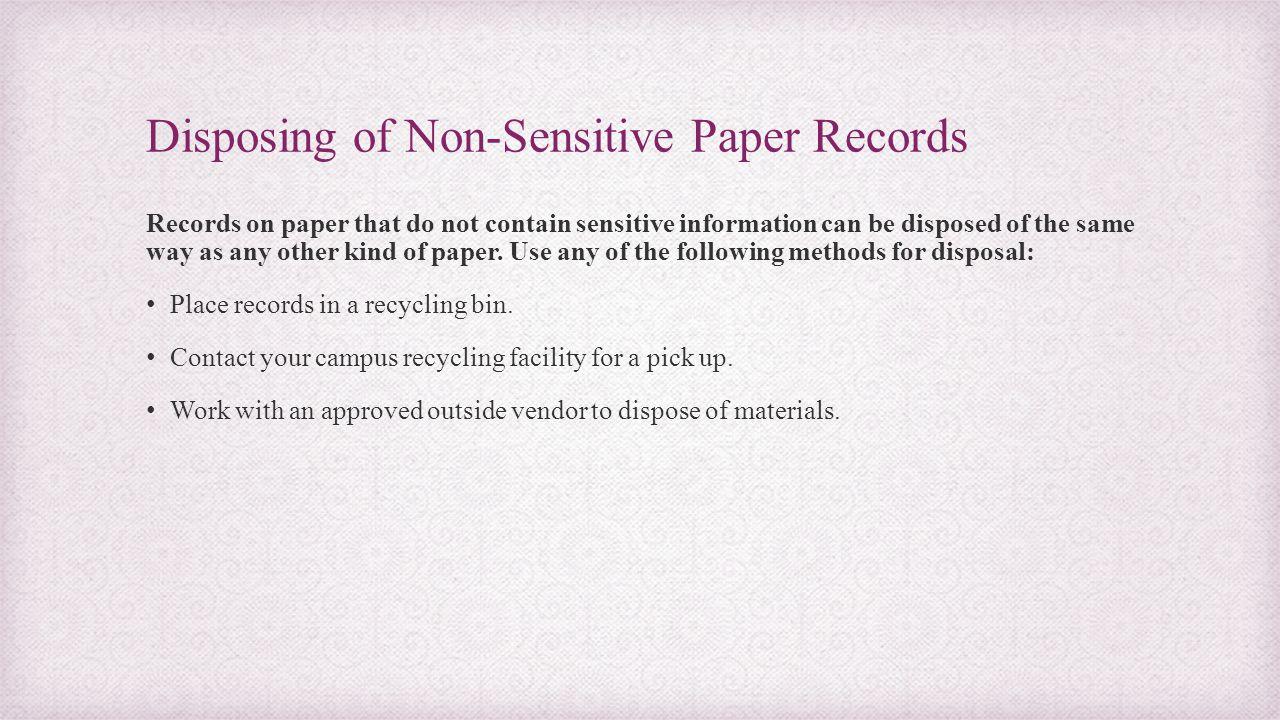 Disposing of Non-Sensitive Paper Records