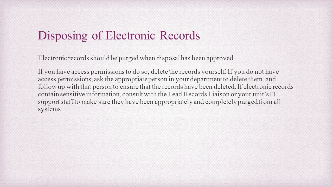 Disposing of Electronic Records