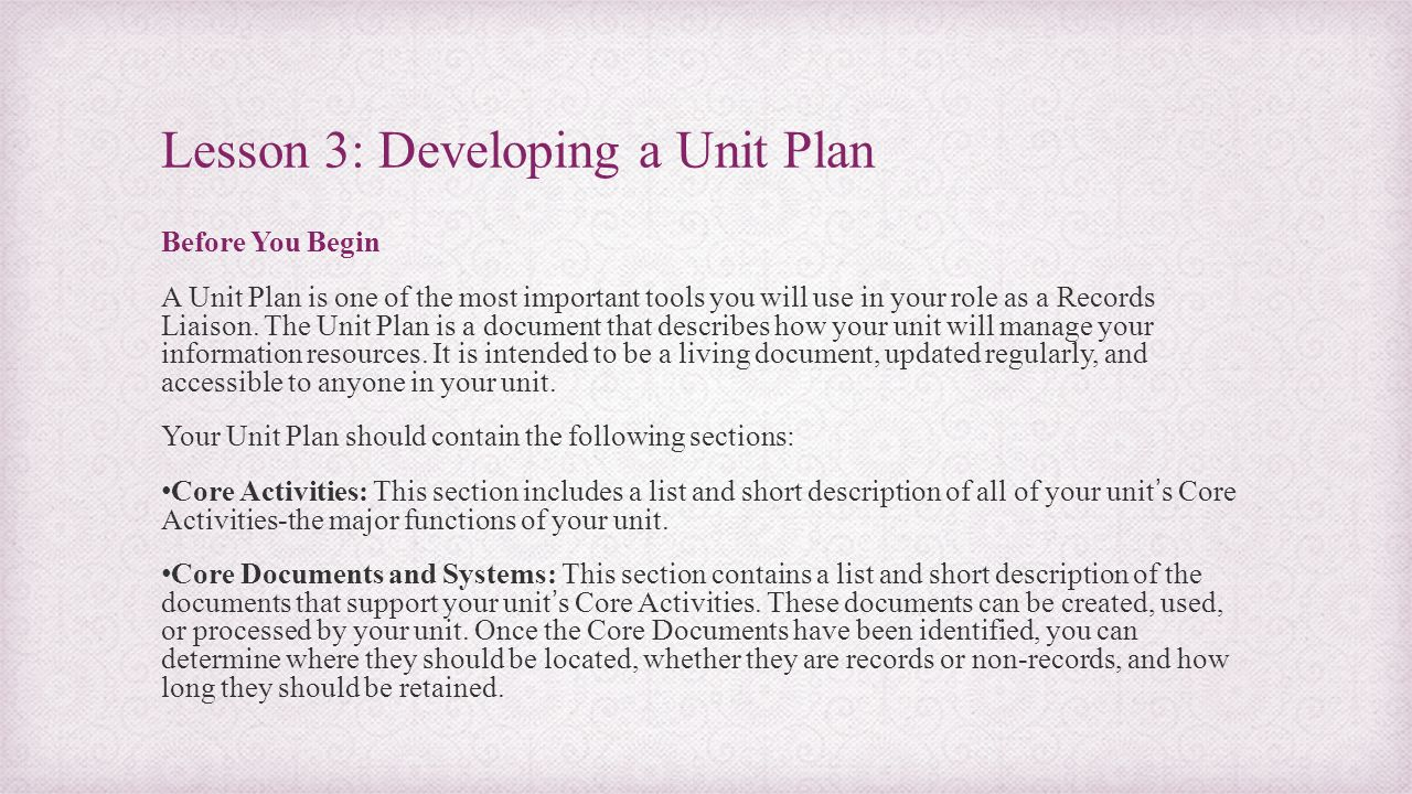 Lesson 3: Developing a Unit Plan