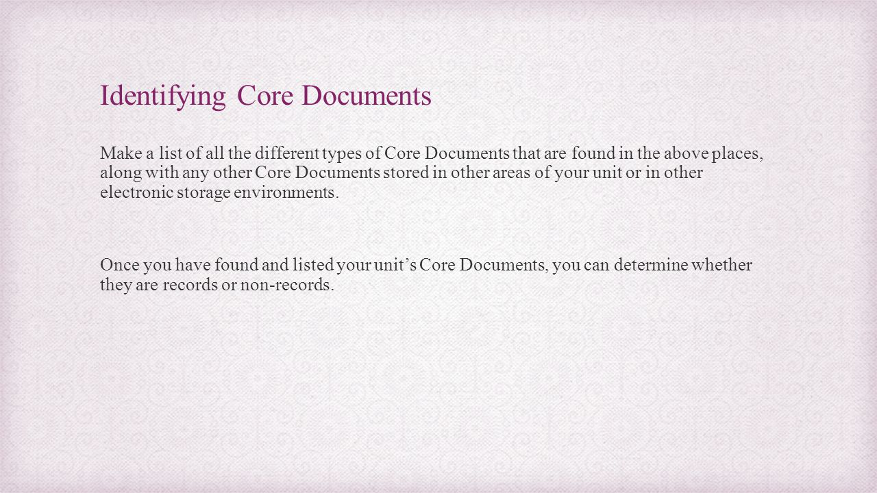 Identifying Core Documents