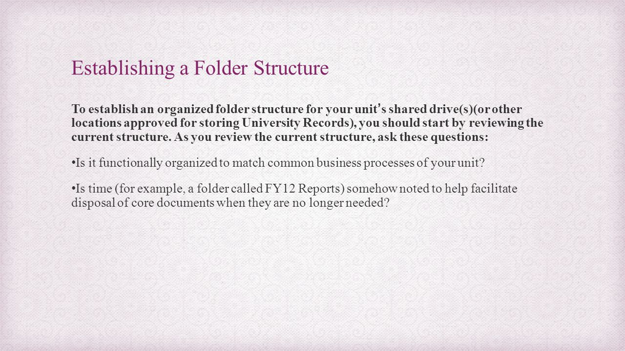 Establishing a Folder Structure