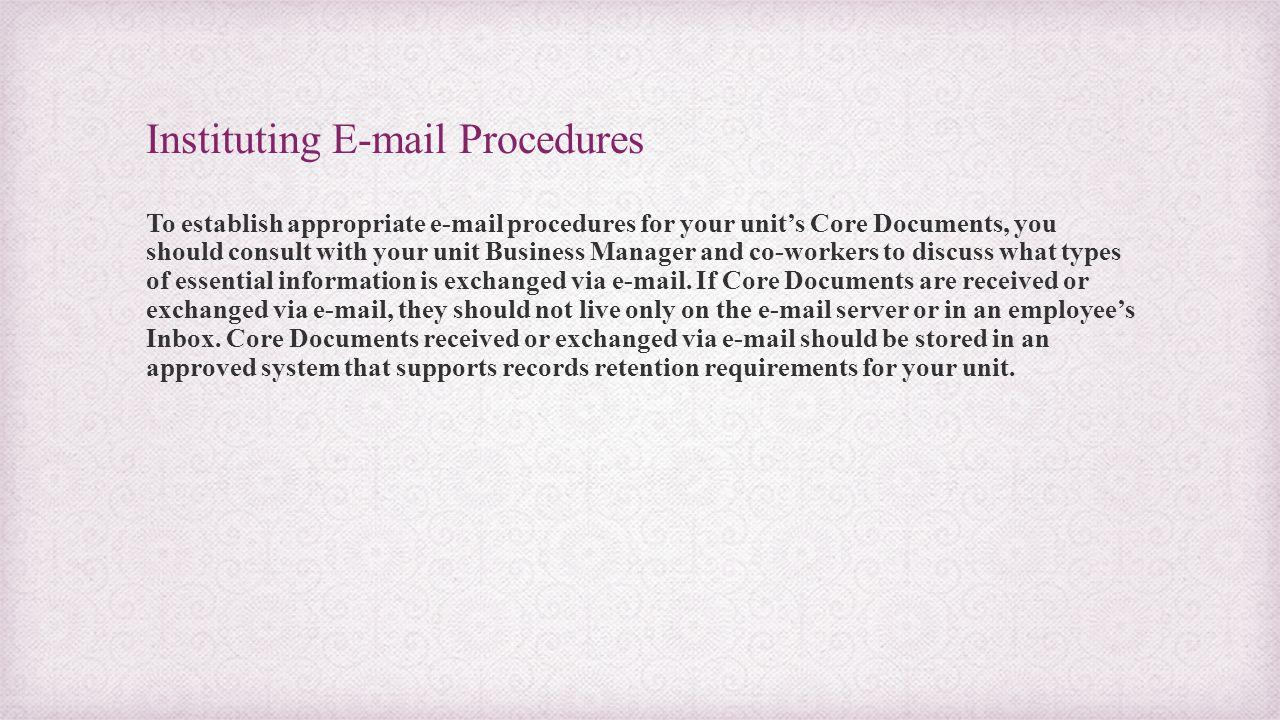 Instituting E-mail Procedures