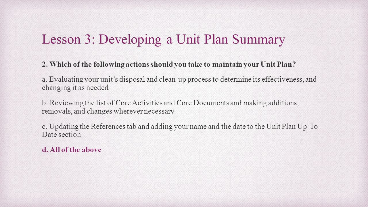 Lesson 3: Developing a Unit Plan Summary