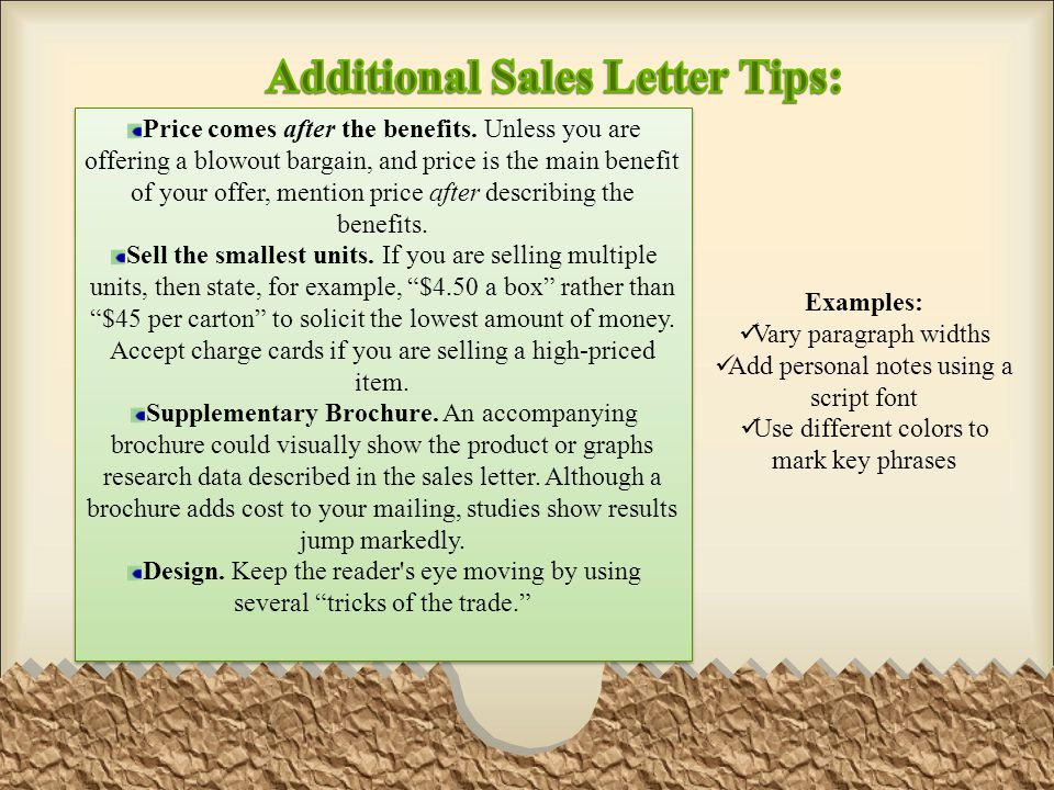 Additional Sales Letter Tips: