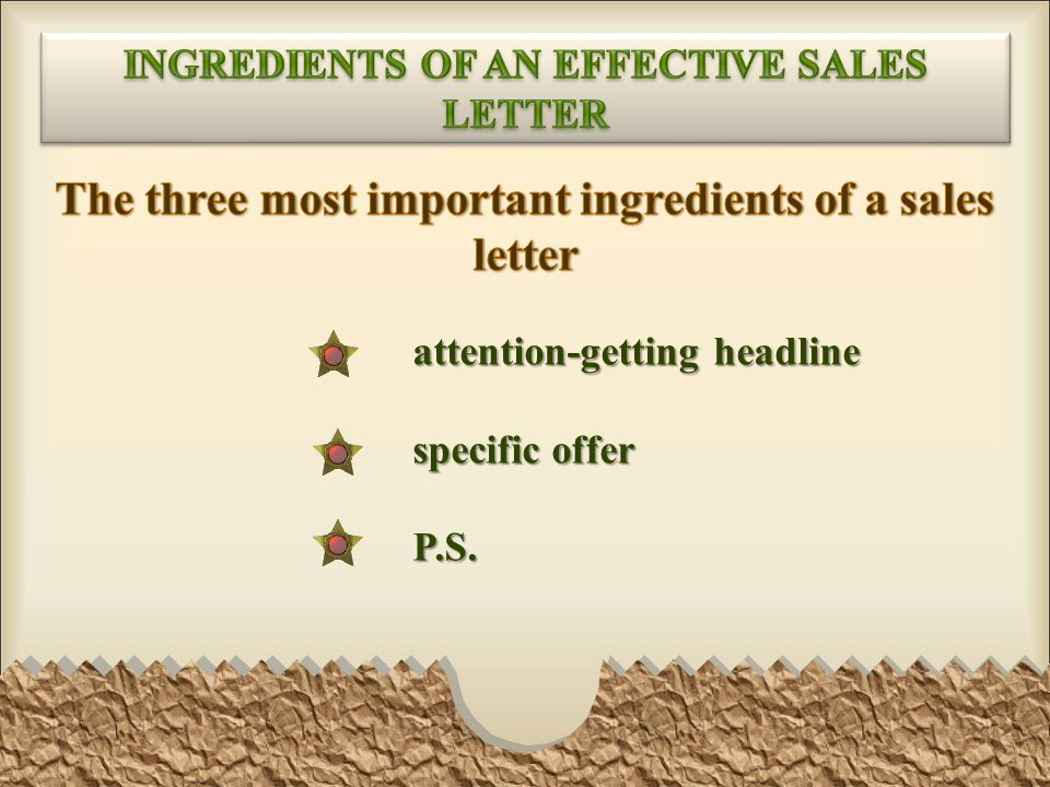 The three most important ingredients of a sales letter
