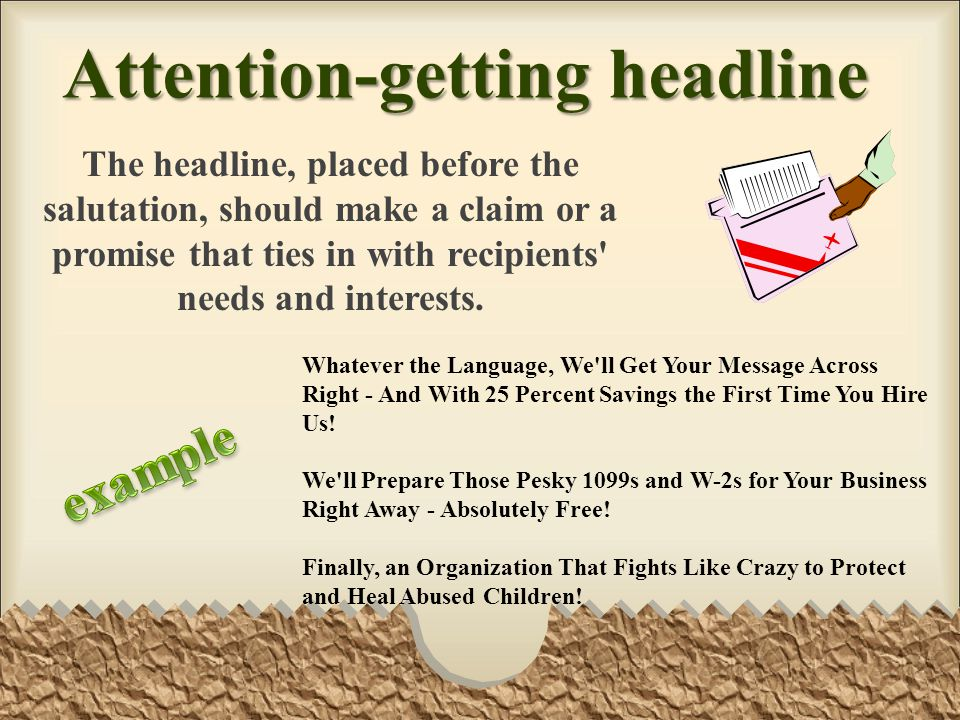 Attention-getting headline