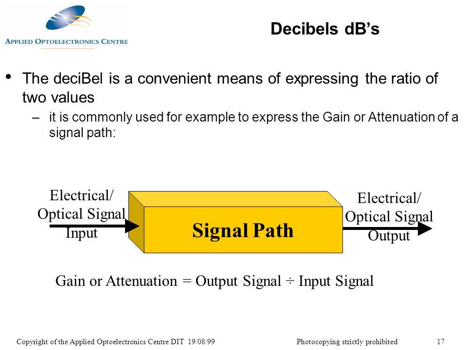 Signal Path Decibels dB's