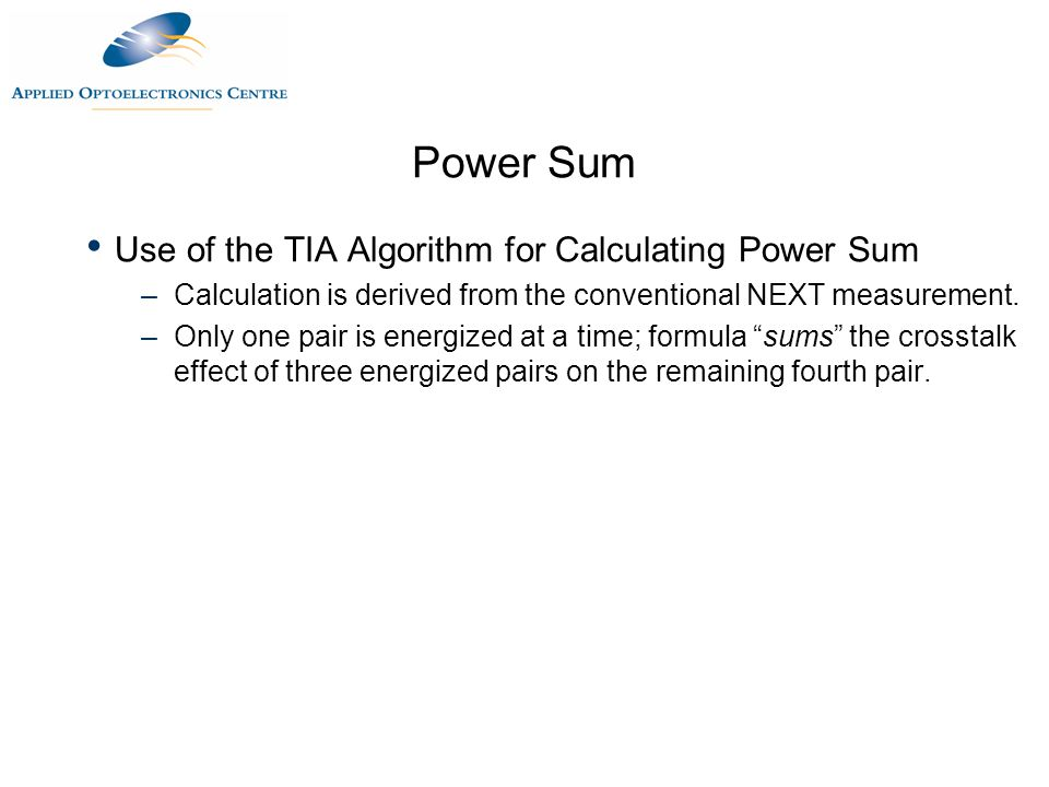 Power Sum Use of the TIA Algorithm for Calculating Power Sum