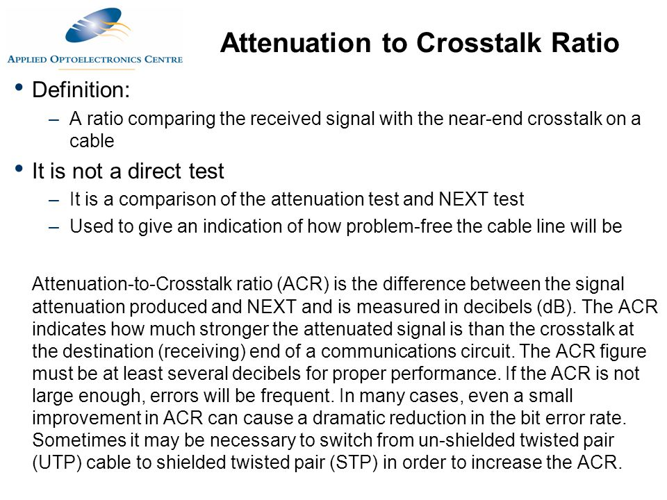 Attenuation to Crosstalk Ratio