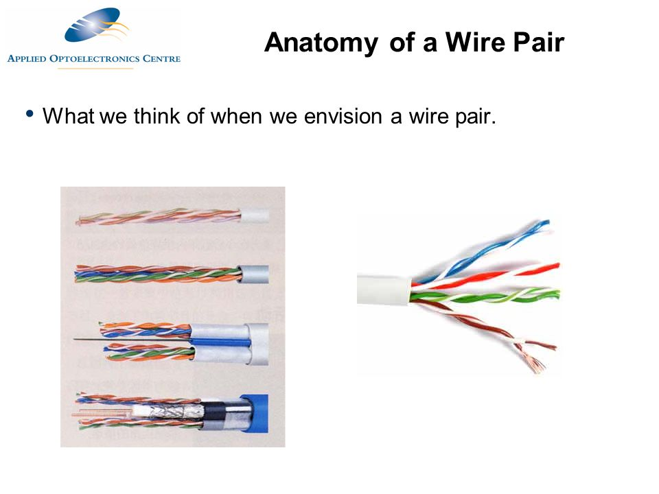 Anatomy of a Wire Pair What we think of when we envision a wire pair.