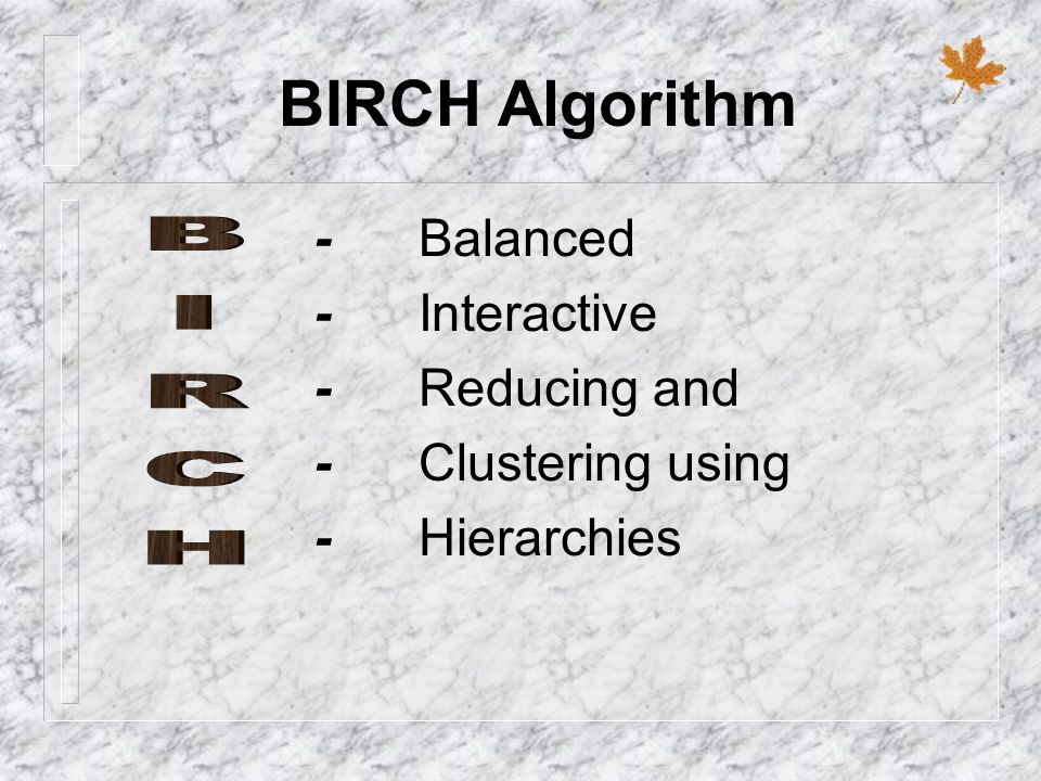 BIRCH Algorithm - Balanced - Interactive - Reducing and BIRCH