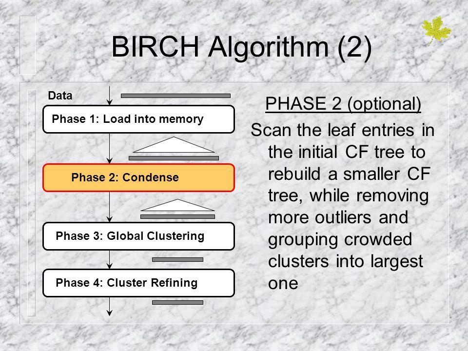 BIRCH Algorithm (2) PHASE 2 (optional)