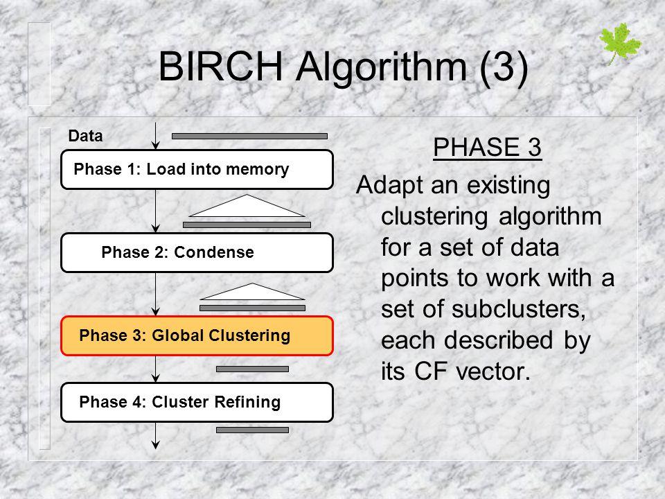 BIRCH Algorithm (3) PHASE 3