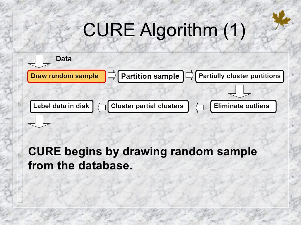 CURE Algorithm (1) Data. Draw random sample. Partition sample. Partially cluster partitions. Label data in disk.