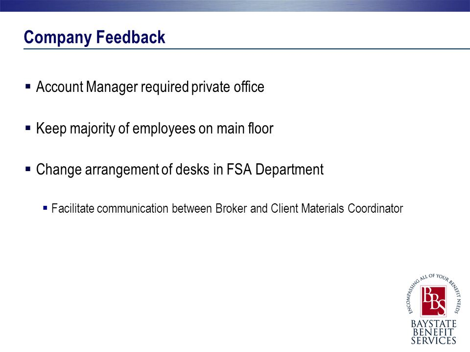 Company Feedback Account Manager required private office