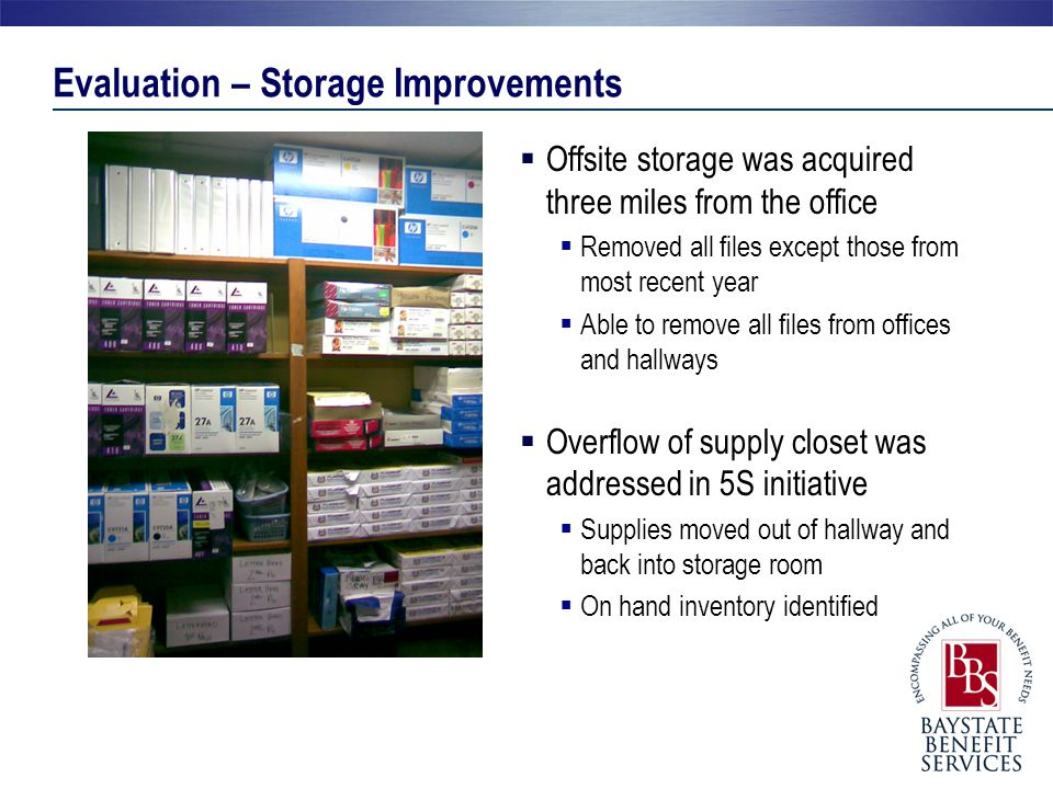 Evaluation – Storage Improvements