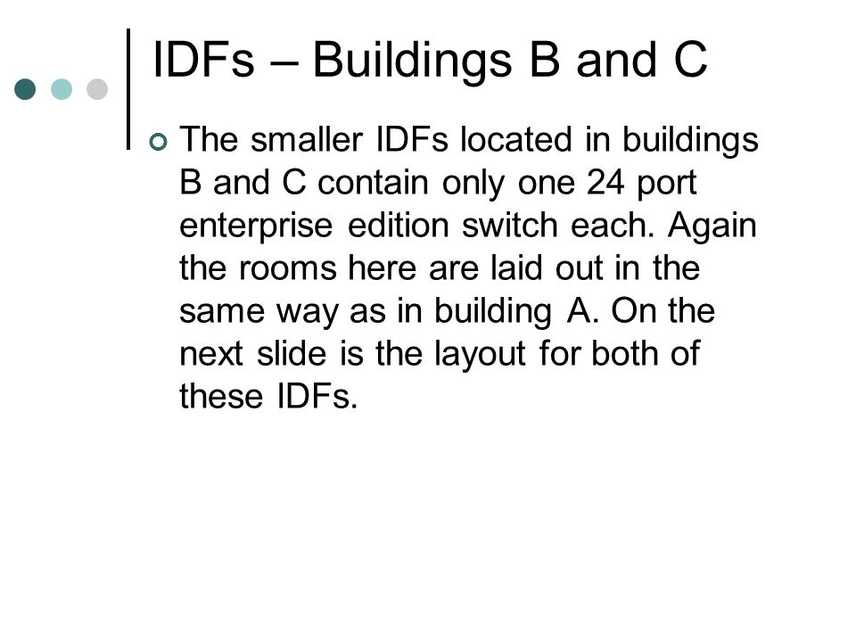 IDFs – Buildings B and C