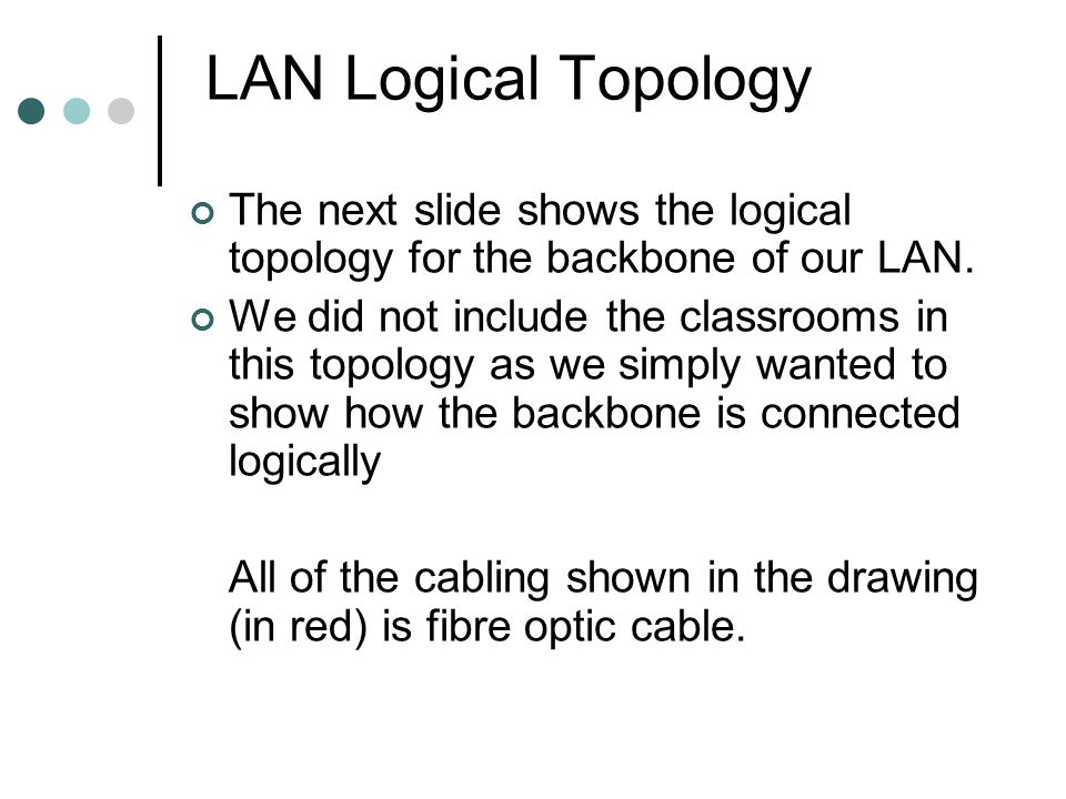 LAN Logical Topology The next slide shows the logical topology for the backbone of our LAN.